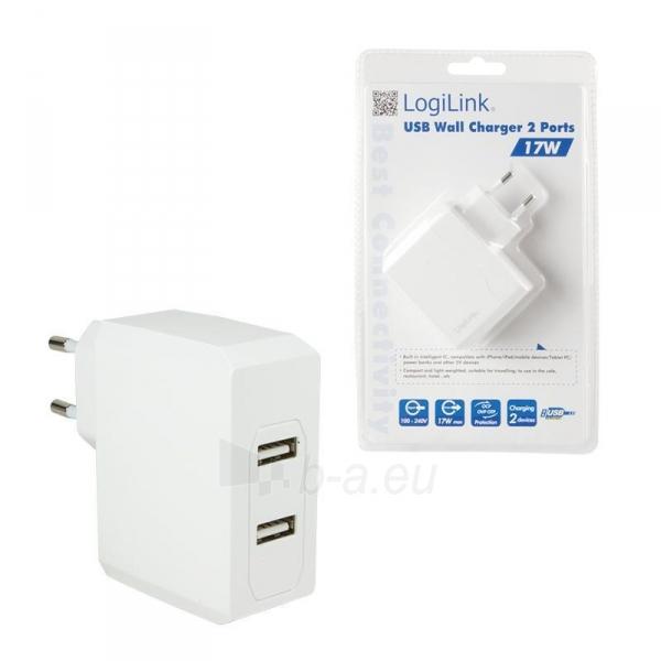 LOGILINK- Universal Wall Charger, 2x USB Ports 17 W Paveikslėlis 6 iš 6 310820011632
