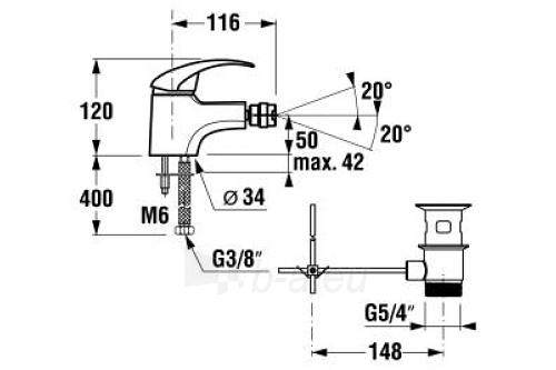 LYRA Bidė maišytuvas, su dugno vožtuvu, chromuotas Paveikslėlis 2 iš 2 270724000068