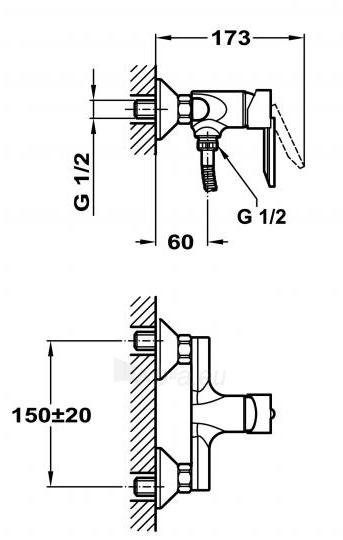 Maišytuvas dušui (korpusas) MAMBO 402K Paveikslėlis 4 iš 4 270721000528