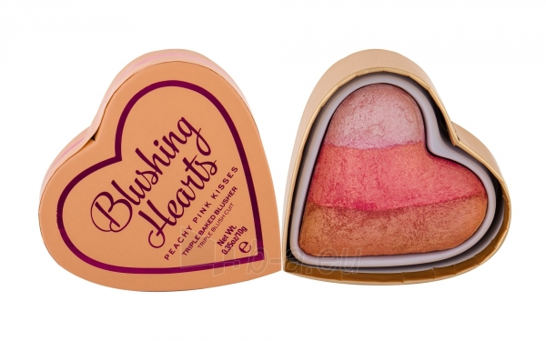 Makeup Revolution London I Love Makeup Blushing Hearts Triple Baked Blusher Cosmetic 10g Peachy Pink Kisses Paveikslėlis 1 iš 2 250873400161