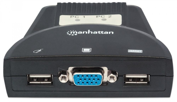 Manhattan 2-Port Mini KVM Switch, USB, Audio, Black Paveikslėlis 4 iš 6 250257501453