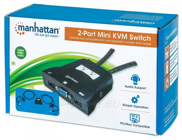 Manhattan 2-Port Mini KVM Switch, USB, Audio, Black Paveikslėlis 6 iš 6 250257501453