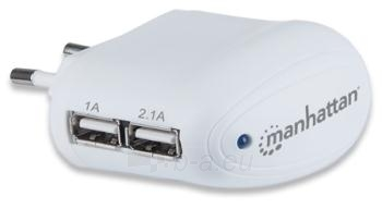 Manhattan didelės galios USB įkroviklis 2.1A, dvi jungtys, iPad, iPhone Paveikslėlis 1 iš 2 310820027148