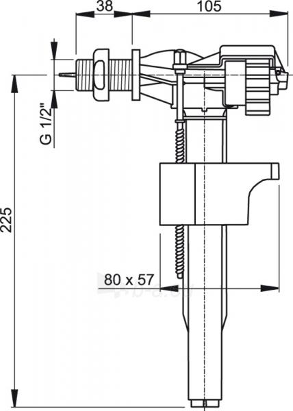 Mechanizmas šoninio pripildymo 1/2 klozeto bakeliui A16 Paveikslėlis 2 iš 2 270740000057