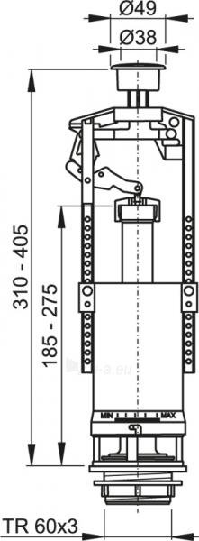 Mechanizmas šoninio pripildymo 1/2 klozeto bakeliui A2000 Paveikslėlis 2 iš 2 270740000058