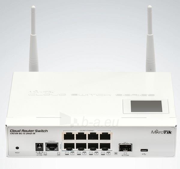 MikroTik CRS109-8G-1S-2HnD-IN L5 8xGig LAN, 1xSFP, 802.11b/g/n,PoE-IN 802.3af/at Paveikslėlis 2 iš 2 250257100659