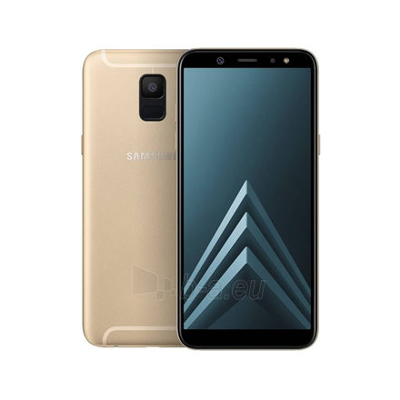 "Mobilusis telefonas Samsung Galaxy A6 A600 Gold, 5.6 "", Super AMOLED, 720 x 1480 pixels, Cortex-A53, Internal RAM 3 GB, 32 GB, microSD, Dual SIM, Nano-SIM, 3G, 4G, Main camera 16 MP, Secondary camera 16 MP, Android, 8.0, 3000 mAh Paveikslėlis 1 iš 1 310820146570"