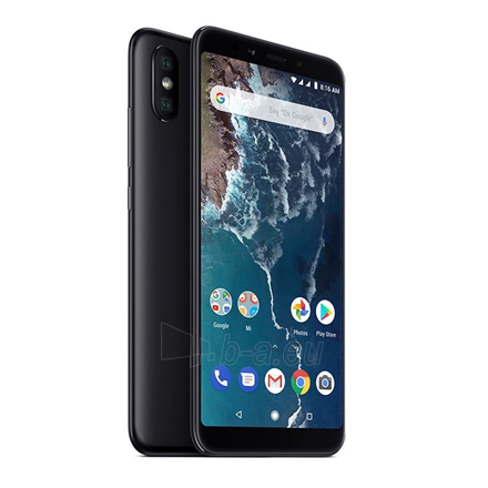 "Mobilusis telefonas Xiaomi Mi A2 Black, 5.99 "", LTPS IPS LCD, 1080 x 2160 pixels, Qualcomm Snapdragon, 660, Internal RAM 4 GB, 32 GB, Dual SIM, Nano-SIM, 3G, 4G, Main camera Dual 12+20 MP, Secondary camera 20 MP, Android, 8.1, 3000 mAh Paveikslėlis 1 iš 1 310820146543"