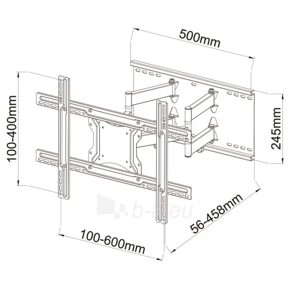Monitoriaus laikiklis ART Holder AR-87 for LCD/LED 40-80 60kg adj. vertical/level 46cm Paveikslėlis 5 iš 5 310820144394