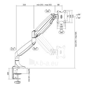 Monitoriaus laikiklis LOGILINK - Alumium monitor desk mount,13-27, max. 9 kg Paveikslėlis 2 iš 6 310820144807