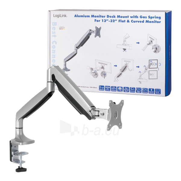 Monitoriaus laikiklis LOGILINK - Alumium monitor desk mount,13-27, max. 9 kg Paveikslėlis 6 iš 6 310820144807