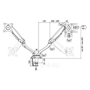Monitoriaus laikiklis LOGILINK - Dual monitor desk mount,13-27, max. 6 kg Paveikslėlis 3 iš 5 310820144800