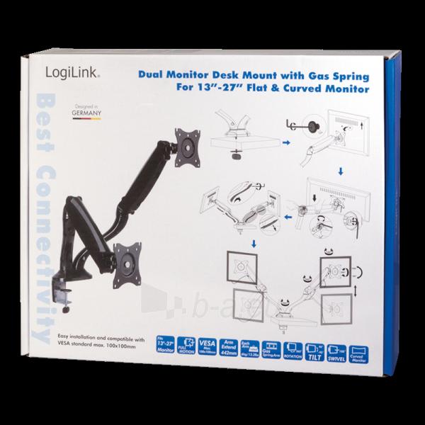 Monitoriaus laikiklis LOGILINK - Dual monitor desk mount,13-27, max. 6 kg Paveikslėlis 4 iš 5 310820144800