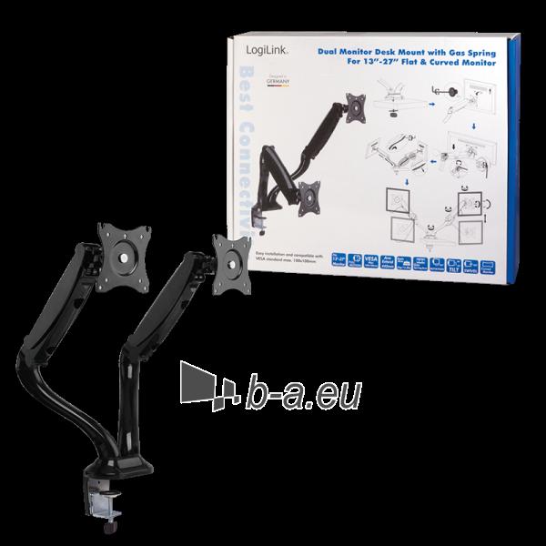 Monitoriaus laikiklis LOGILINK - Dual monitor desk mount,13-27, max. 6 kg Paveikslėlis 5 iš 5 310820144800