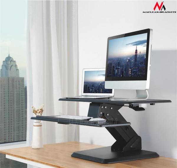 Monitoriaus laikiklis Maclean MC-792 Stand for keyboard and monitor / laptop on a black table gas spr Paveikslėlis 4 iš 8 310820144350