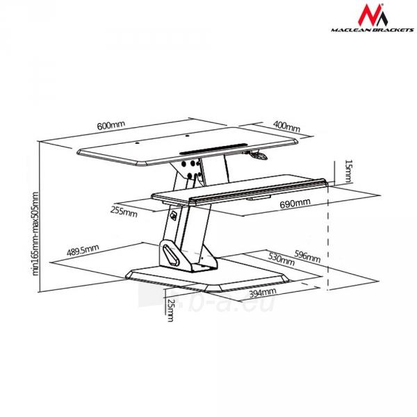 Monitoriaus laikiklis Maclean MC-792 Stand for keyboard and monitor / laptop on a black table gas spr Paveikslėlis 7 iš 8 310820144350
