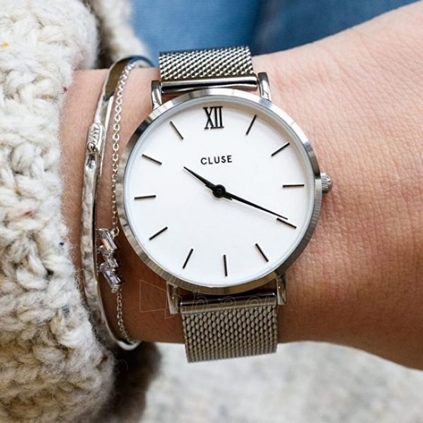 Moteriškas laikrodis Cluse Minuit Mesh Silver/White Paveikslėlis 5 iš 9 310820116547