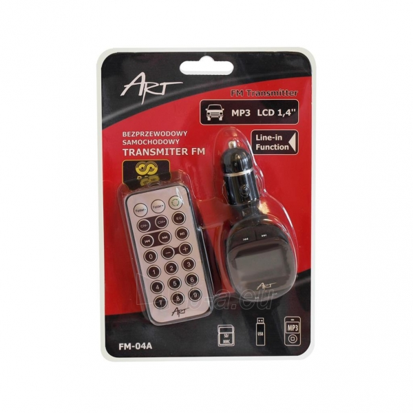ART CAR TRANSMITER FM MP3 display 1.4 RDS remote control USB/SD/MMC FM-01F Paveikslėlis 3 iš 3 310820013711
