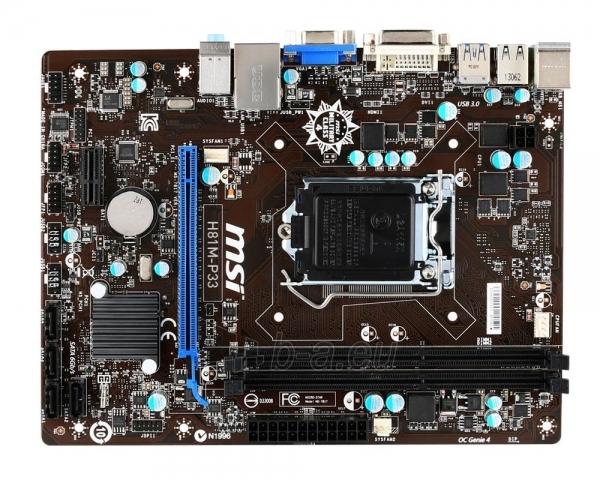 MSI H81M-P33, H81, DualDDR3-1600, SATA3, DVI, mATX Paveikslėlis 1 iš 2 250255051686