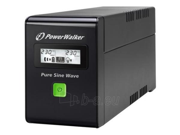 UPS Power Walker Line-Interactive 600VA 2x PL 230V, PURE SINE, RJ11/RJ45,USB,LCD Paveikslėlis 1 iš 4 250254300967