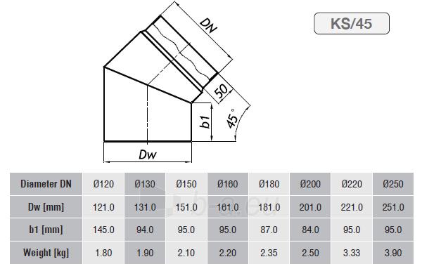 Nereguliuojama alkūnė 150/45 be pravalos Paveikslėlis 2 iš 2 310820161461