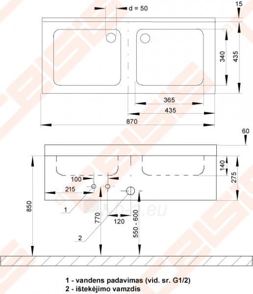 Nerūdijančio plieno dviguba plautuvė su uždanga Paveikslėlis 2 iš 2 270712000180