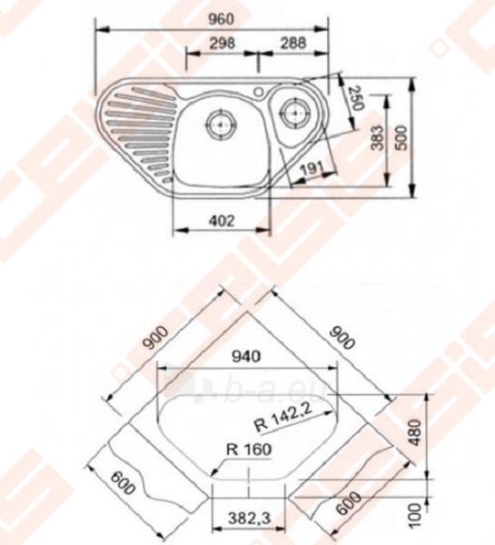 Nerūdijančio plieno kampinė plautuvė FRANKE Mikado MOX651-E be ventilio (su 2 skylėmis) Paveikslėlis 2 iš 2 270711001224