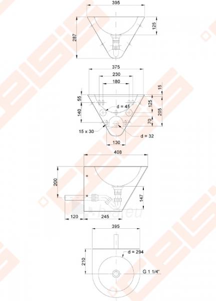 Nerūdijančio plieno plautuvė SANELA, antivandalinė Paveikslėlis 2 iš 2 270712000901