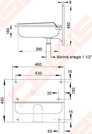 Nerūdijančio plieno plautuvė SANELA 46x31x16 su galine sienele tvirtinama prie sienos Paveikslėlis 2 iš 2 271524000212