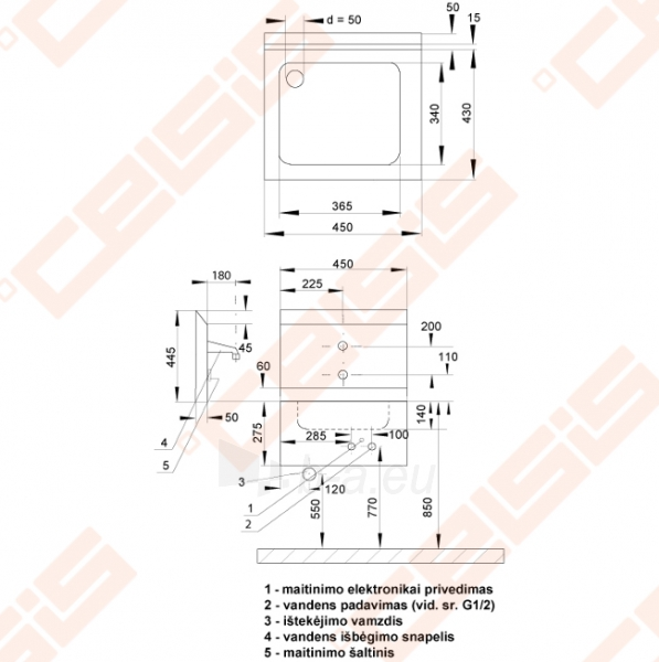Nerūdijančio plieno plautuvė SANELA su galine sienele, integruota elektronika Paveikslėlis 2 iš 2 271524000215
