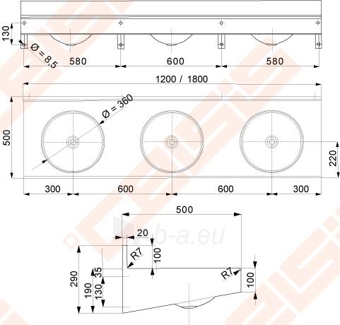Nerūdijančio plieno trivietė plautuvė 120x50x19 Paveikslėlis 2 iš 2 270712000182