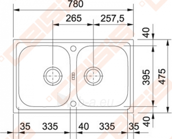 Nerūdijančio plieno universali plautuvė FRANKE Euroform EFX620-78 be ventilio (su 2 skylėmis) Paveikslėlis 2 iš 2 271524000222