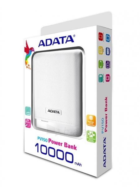 Nešiojamas įkroviklis Adata PV150 power bank 10000mAh, Baltas Paveikslėlis 1 iš 4 310820014361