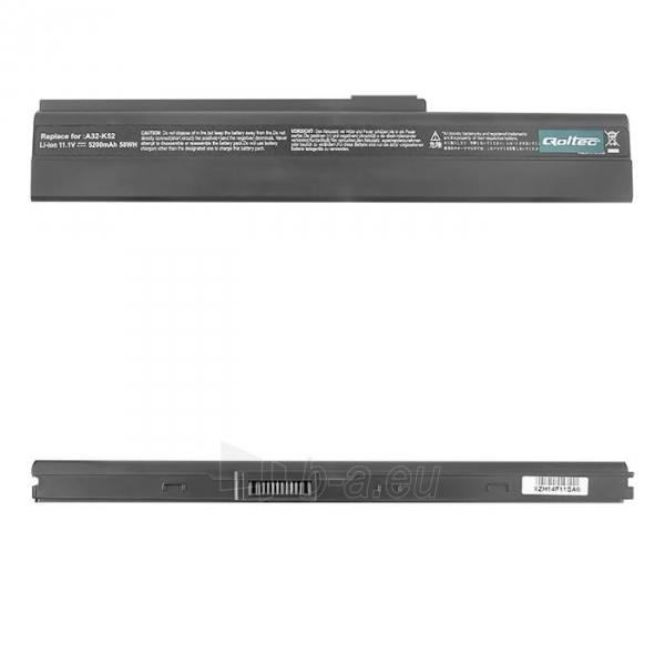 Nešiojamo kompiuterio baterija Qoltec Asus A32-K52 X42, 10.8-11.1 V, 5200mAh Paveikslėlis 1 iš 2 250254100572