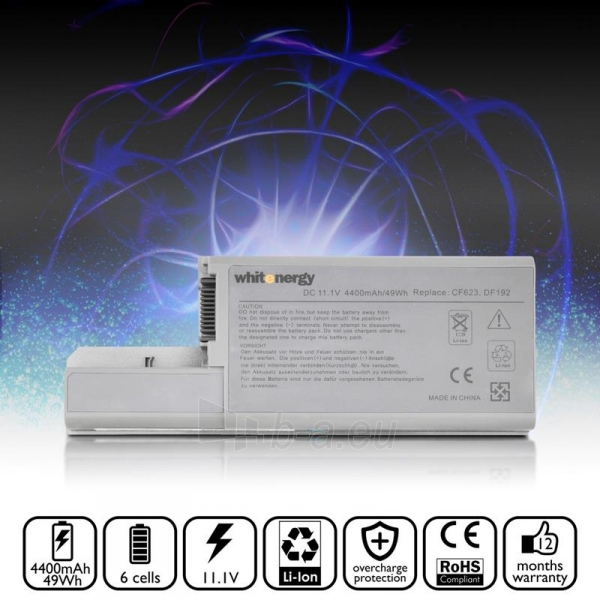 Nešiojamo kompiuterio baterija Whitenergy Dell Latitude D820 11.1V 4400mAh Paveikslėlis 5 iš 8 250254100535