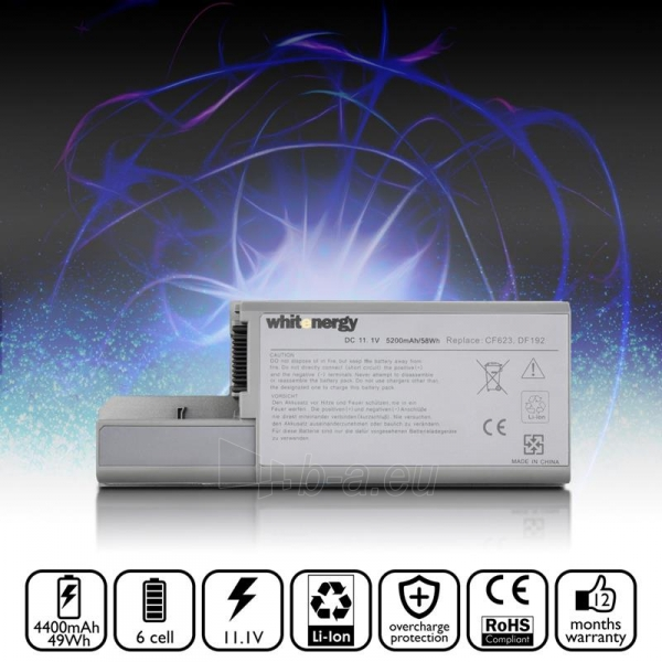 Nešiojamo kompiuterio baterija Whitenergy Dell Latitude D820 11.1V 5200mAh Paveikslėlis 5 iš 8 250254100536