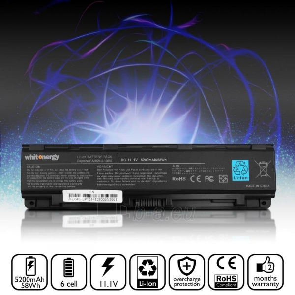 Nešiojamo kompiuterio baterija Whitenergy Toshiba PA5024U-1BRS 11,1V 5200mAh Paveikslėlis 6 iš 6 310820005322