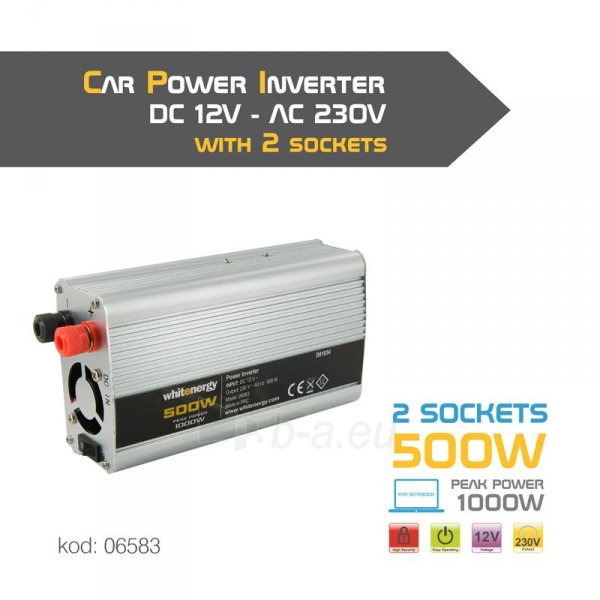 Whitenergy Inverteris AC/DC 12V (automobilis) 230V, 500W , 2 lizdai Paveikslėlis 4 iš 4 250256401148