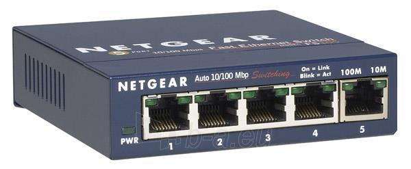 Netgear ProSafe 5-Port 10/100 Switch Metal External Power Supply (FS105 v3) Paveikslėlis 1 iš 1 250257501518