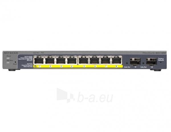 Netgear ProSafe Smart 10-Port Gigabit Switch 8xPoE, 2xSFP (GS110TP v2) Paveikslėlis 1 iš 1 250257501214