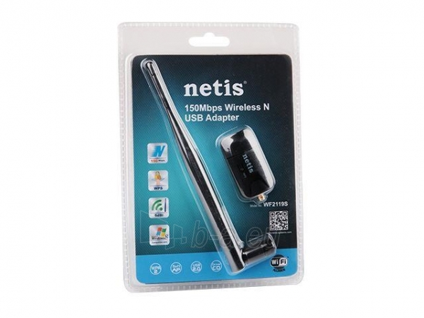 Netis Mini USB WiFi adaptor, 150 Mbps, 1 detachable antenna 5dBi Paveikslėlis 1 iš 1 250257100434