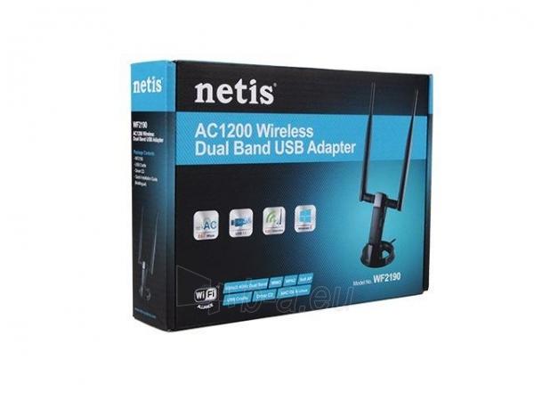 Netis Mini USB WiFi adaptor, AC 1200 Mbps, 2x detachable antenna 5dBi Paveikslėlis 3 iš 3 250257100437