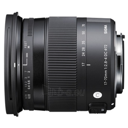 Sigma AF 17-70mm F2.8-4.0 DC MACRO OS HSM for Canon, 17 Elements in 13 Groups, Angle of View: 72.4 - 20.2 degrees Paveikslėlis 1 iš 1 250222040100319