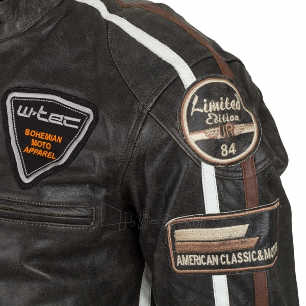 Odinė vyriška moto striukė su apsaugomis W-TEC Buffalo Cracker Paveikslėlis 4 iš 11 310820218011