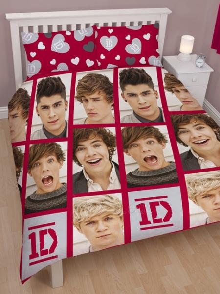 One Direction dvigulės dvipusės patalynės komplektas su širdelėmis Paveikslėlis 1 iš 4 30115700647