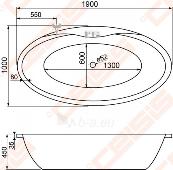 Ovali vonia ROLTECHNIK MAXIOVAL 1900x1000 cm su panele Paveikslėlis 3 iš 3 270716000981