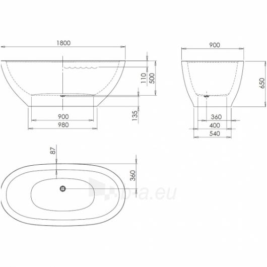 PAA laisvai pastatoma vonia 1800x900 Dolce (Silkstone) Paveikslėlis 4 iš 4 310820127833