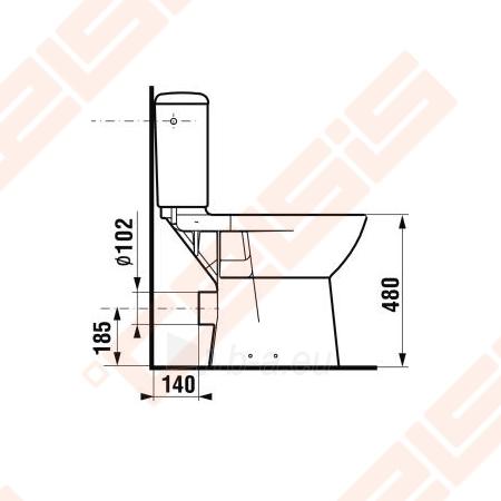 Paaukštinto kombinuoto pastatomo unitazo puodas JIKA Olymp neįgaliems, horizontals nuotakas, aukštis 48 cm Paveikslėlis 3 iš 4 270713001091