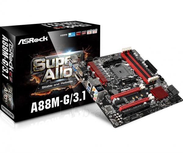 Pagrindinė plokštė ASRock A88M-G/3.1, A88X, DualDDR3-2133, SATA3, HDMI, DVI, D-Sub, USB 3.1, mATX Paveikslėlis 1 iš 5 310820017543