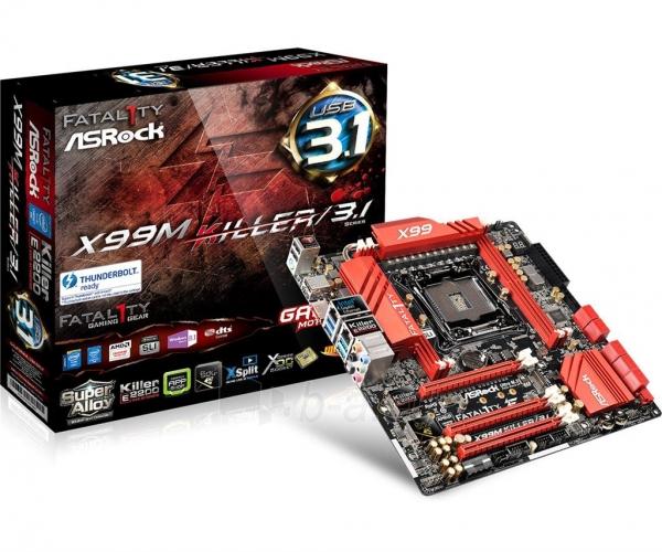 Pagrindinė plokštė ASRock Fatal1ty X99M KILLER/3.1, X99, DualDDR4-2133, SATA3, SATAe, USB 3.1, mATX Paveikslėlis 1 iš 5 310820017470